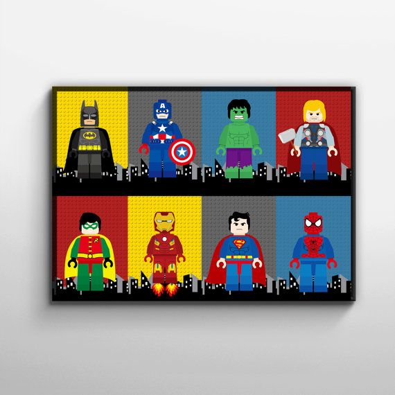 Hey I Found This Really Awesome Etsy Listing At Https Www Etsy Com Listing 214715343 Superhero Lego Wall Art Post Lego Wall Art Superhero Wall Art Lego Wall