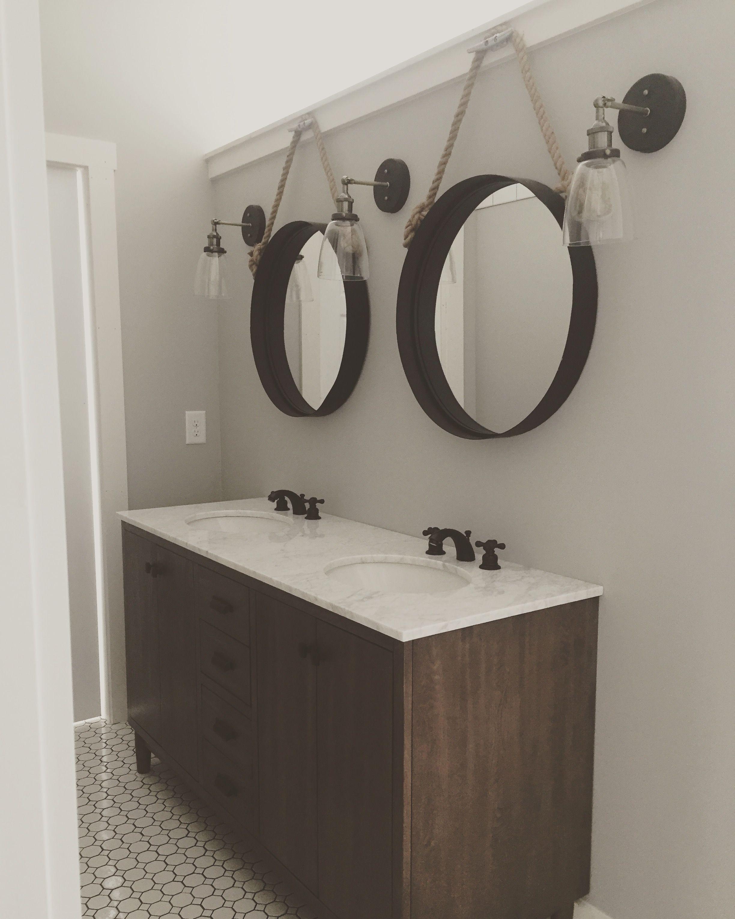 industrial bathroom lighting. Modern Farmhouse, Master Bathroom , Boat Cleats, Porthole Mirrors, Beach House, Industrial Lighting