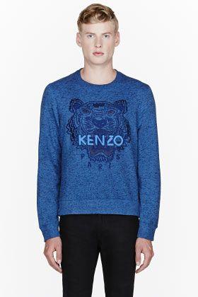 022c29fb9da9 Kenzo Blue Classic Embroidered Tiger Crewneck Sweatshirt for men ...