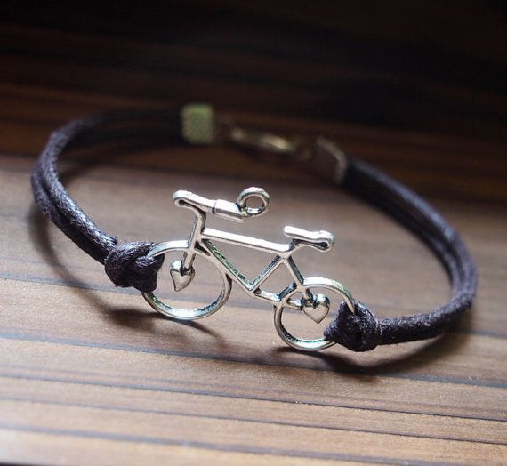 Bike Bracelet Single Bicycle Silver Brown Leather Men Gift Boy Best Friendship Jewelry