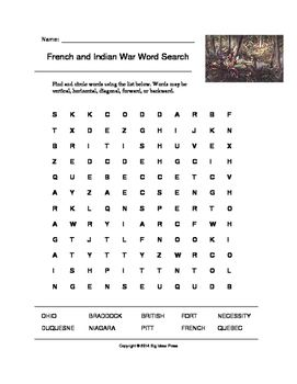Colonial America Word Search French And Indian War Grades 4 5 Constitution Day Social Studies Elementary Teaching History