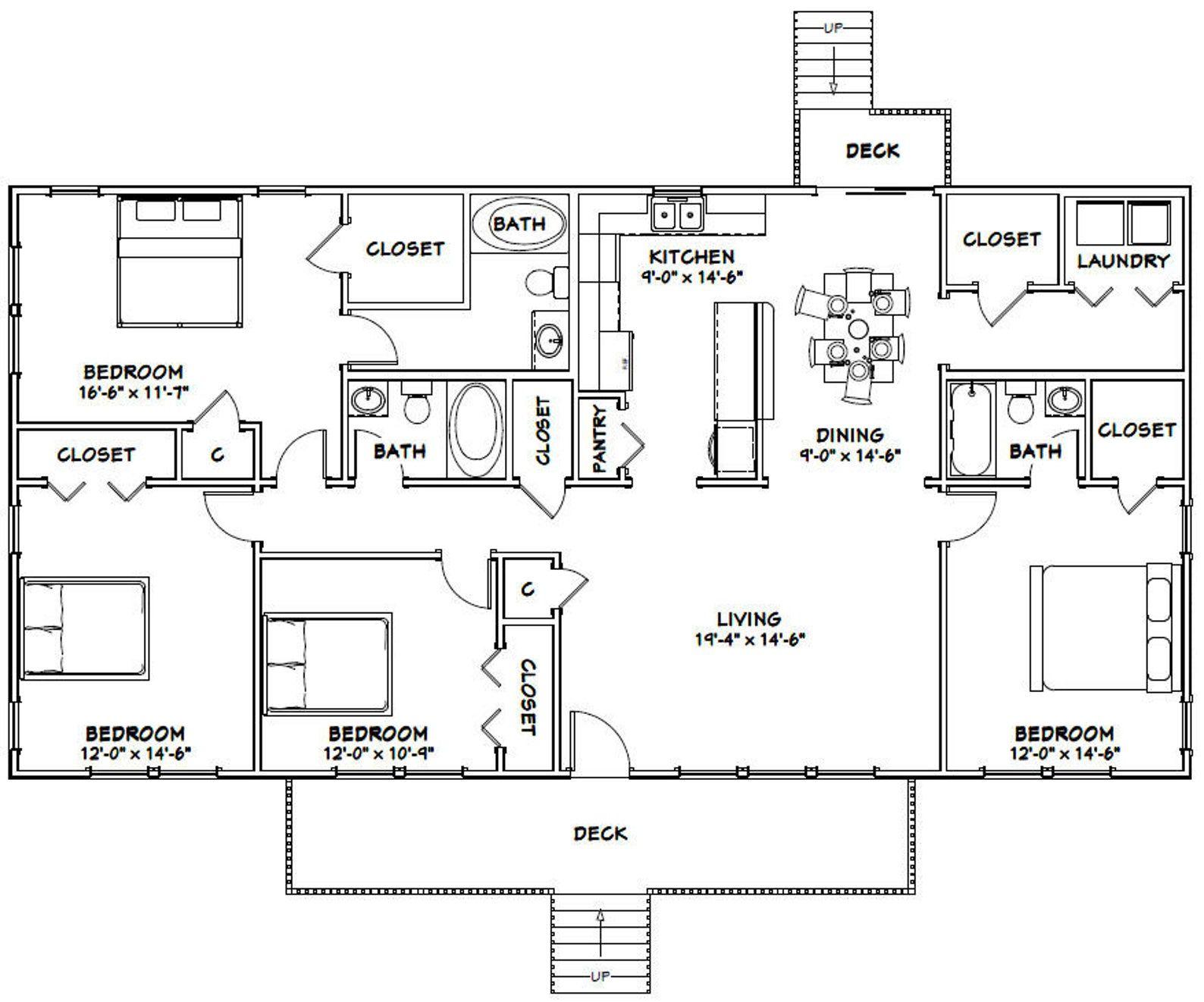 60x30 House 4 Bedroom 3 Bath 1800 Sq Ft Pdf Floor Etsy Barndominium Floor Plans Rectangle House Plans Mobile Home Floor Plans