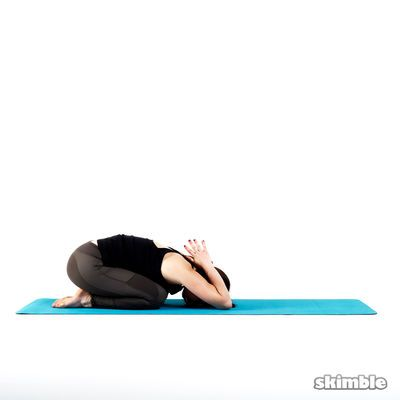 child's pose with reverse prayer http