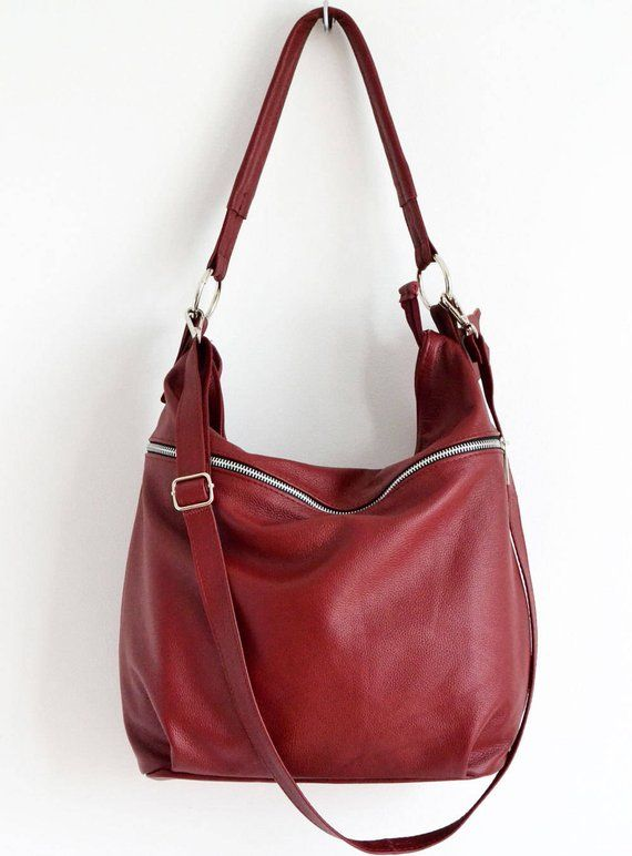 76473f4235 BURGUNDY LEATHER HOBO Bag