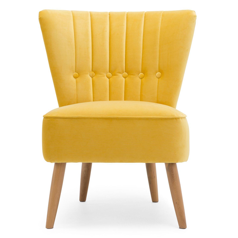 Elle Velvet Button Back Cocktail Chair Velvet cocktail