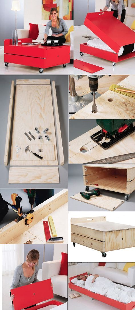 Smart Bedside Table: Now This Is Smart! Free DIY Coffee Table / Fold Out Bed