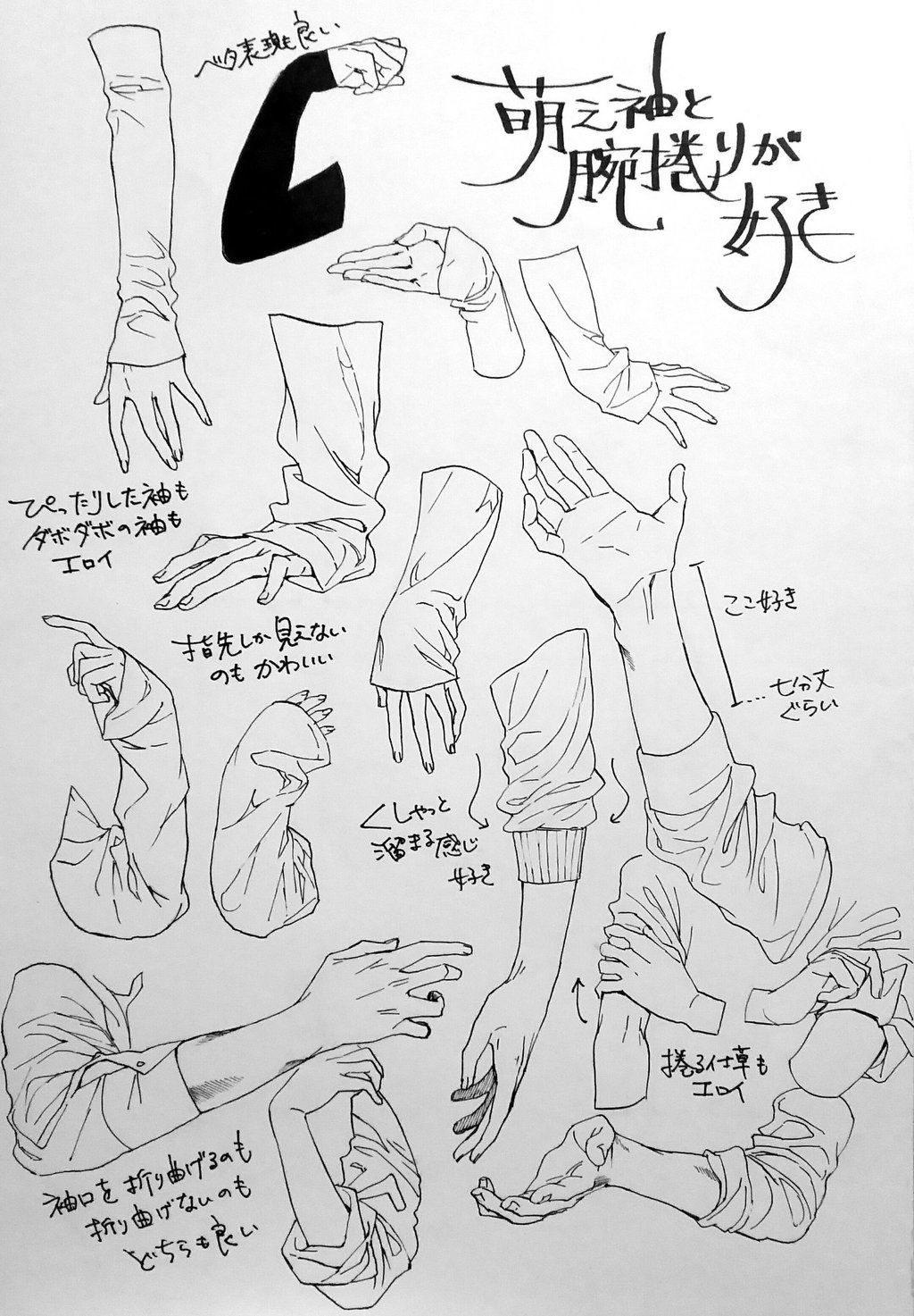 sleeve references reference sheet arm arms hand hands wrinkles
