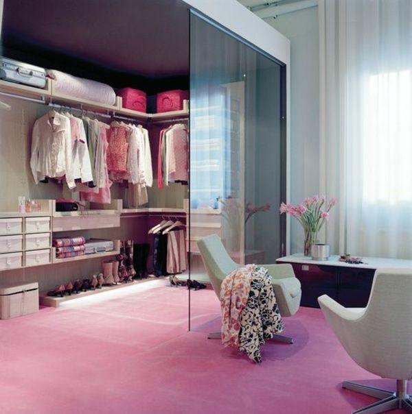 Begehbarer kleiderschrank rosa  begehbarer kleiderschrank ideen ankleidezimmer rosa teppich ...
