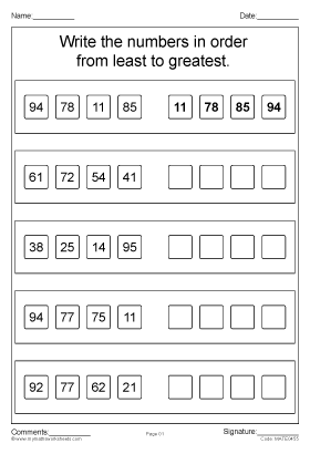 Least to Greatest 1 to 100 worksheet part 2   Mental maths ...