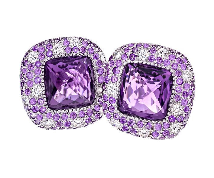 Amethyst, Rose de France & Diamond Earrings