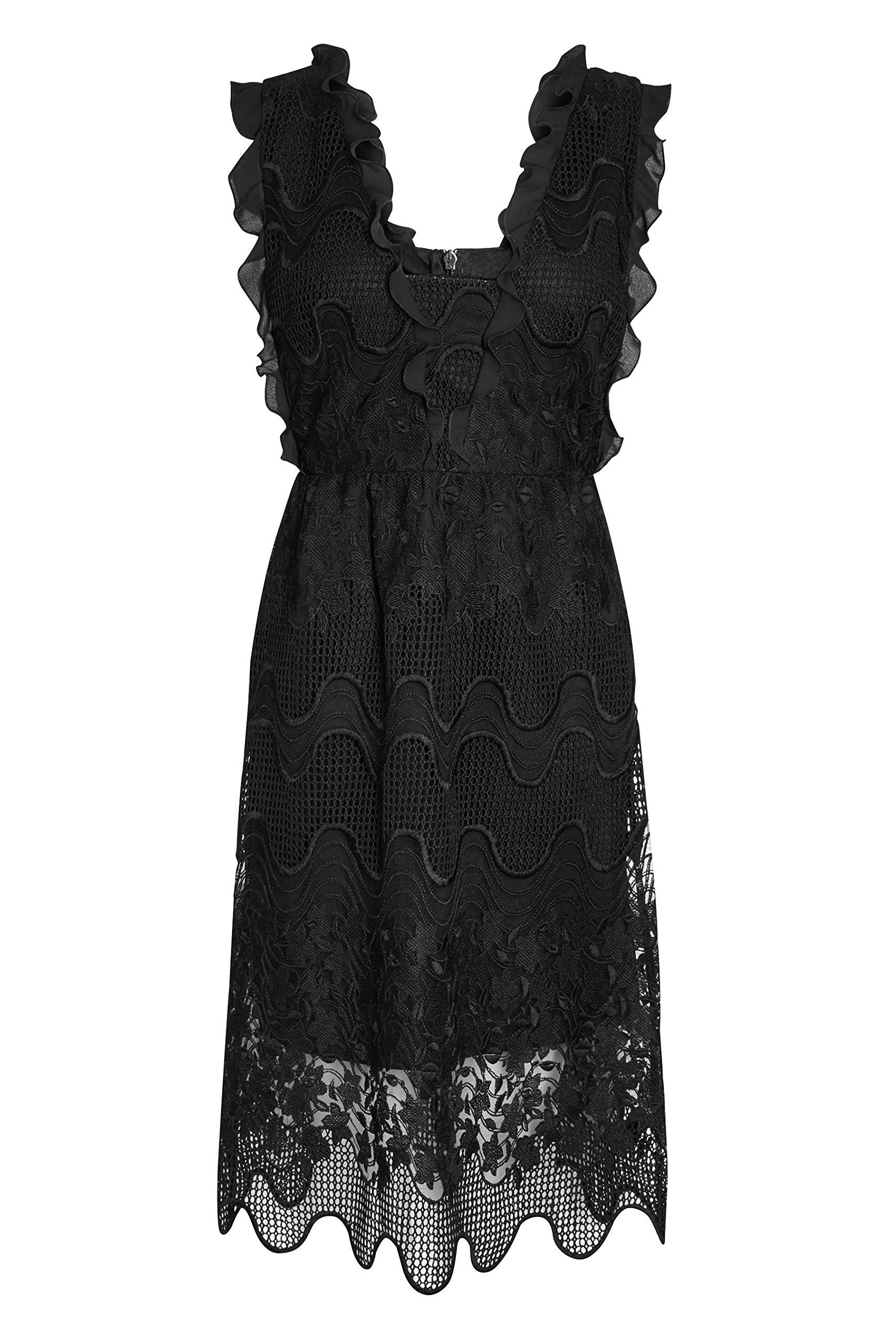 Black dress next - Next Women Black Ruffle Lace Midi Dress Petite Fit Next Is The Leading British Clothing