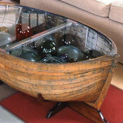 creative glass display coffee tables - a beautiful fishing glass