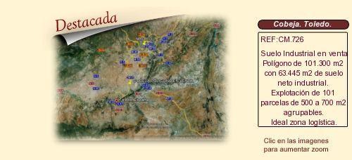 CM726 Cobeja. Comarca de la Sagra. Toledo.  Suelo industrial o logístico en venta.
