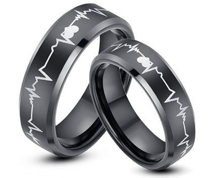 Black Tungsten Wedding Ring Sets Heart Wedding Bands Couples