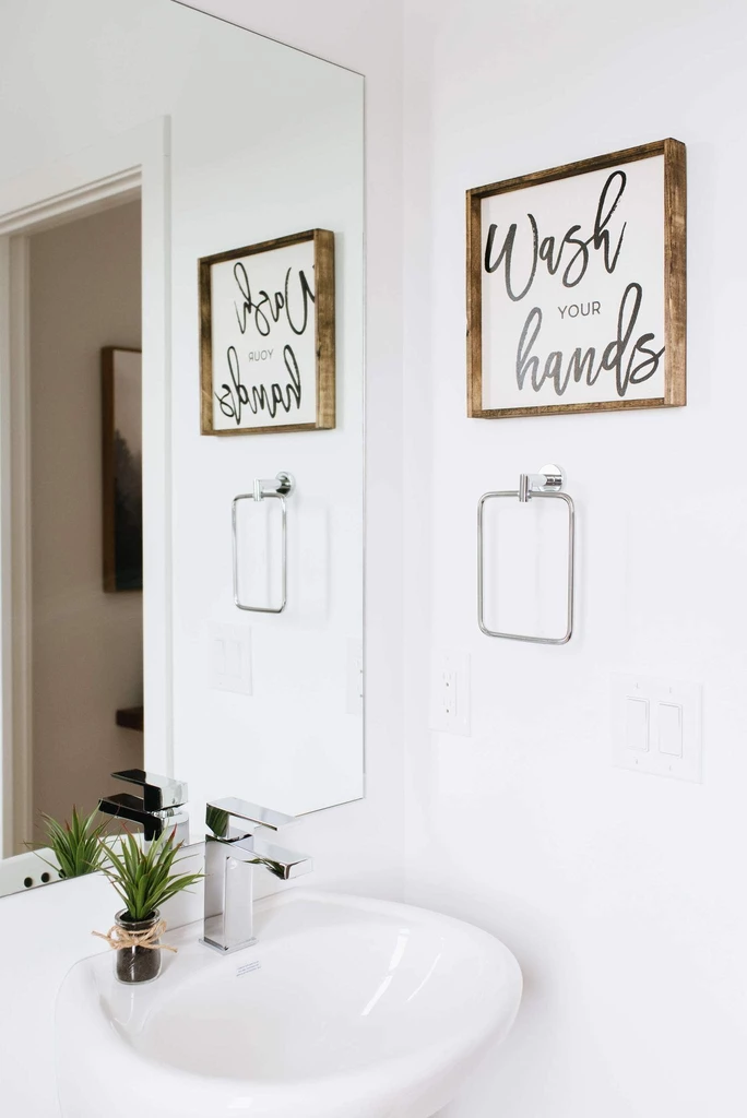 Wash Your Hands Wood Sign Rustic Bathroom Wall Decor Bathroom Decor Pictures Diy Bathroom Decor