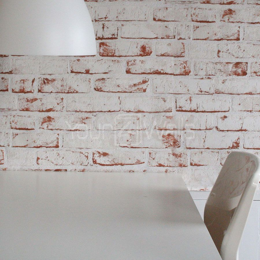 Merveilleux White Painted Reclaimed Brick Effect Wallpaper White, Red, Orange U0026 Brown  Tones 19.97 Roll