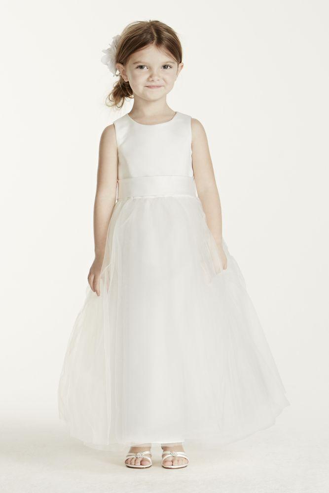 Satin Flower Girl / Communion Dress with Tulle Skirt - White, 7