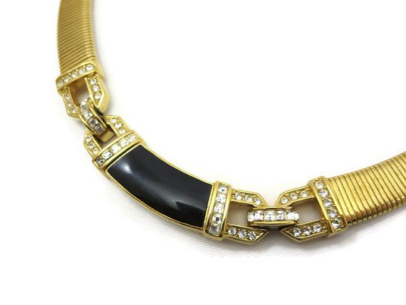 Christian Dior Jewelry Vintage Enamel Rhinestones Designer Snake