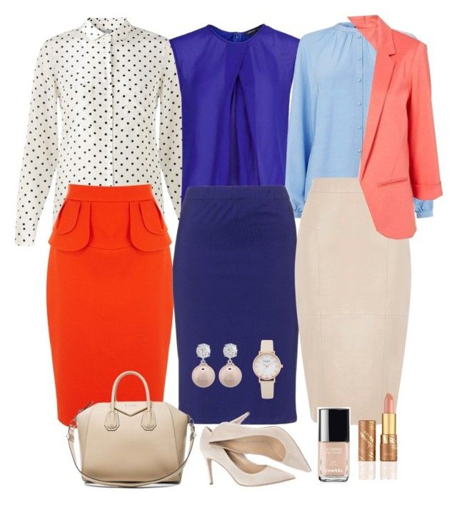 """""""bright office week capsule"""" by fly2010 on Polyvore featuring Jigsaw, MANGO, Warehouse, Karen Millen, Manon Baptiste, Oasis, WithChic, Givenchy, tarte and Chanel"""