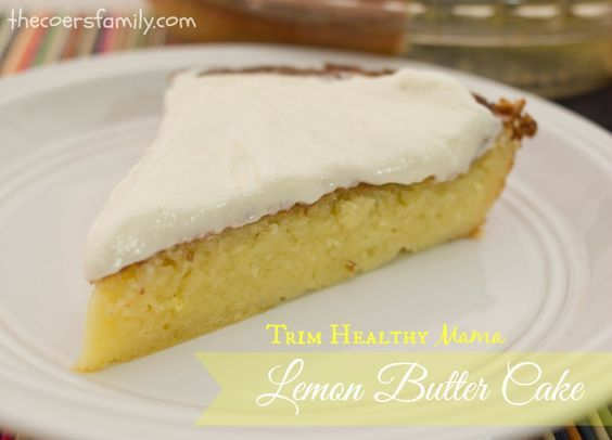 Rrich, buttery lemon cake with a decadent cream cheese frosting - Trim Healthy Mama Lemon Butter Cake from thecoersfamily.com