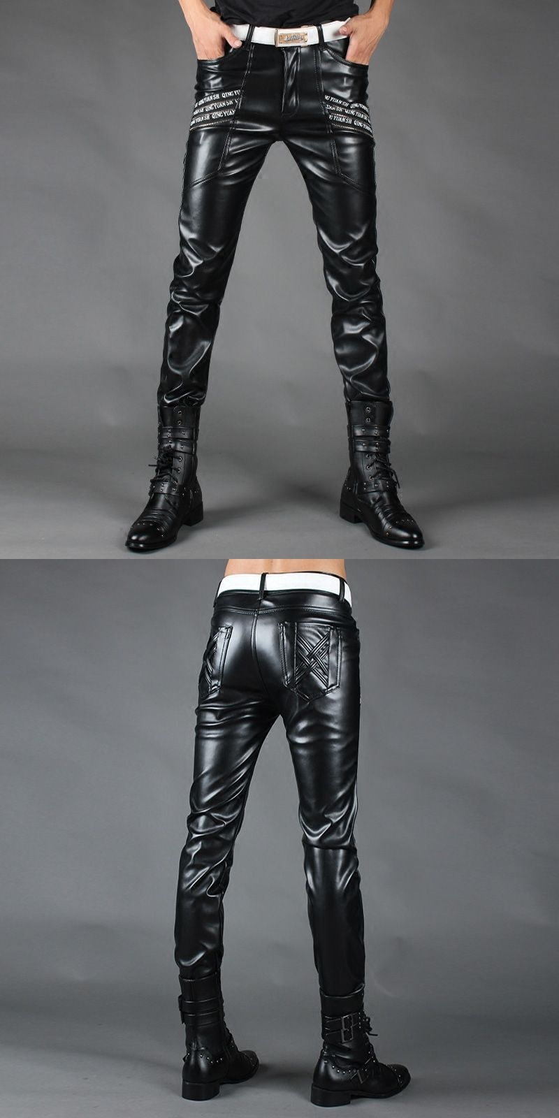 Black New Fashion Cuero Autumn Skinny Fit Winter Pantalones 2017 UwqCgHpx4