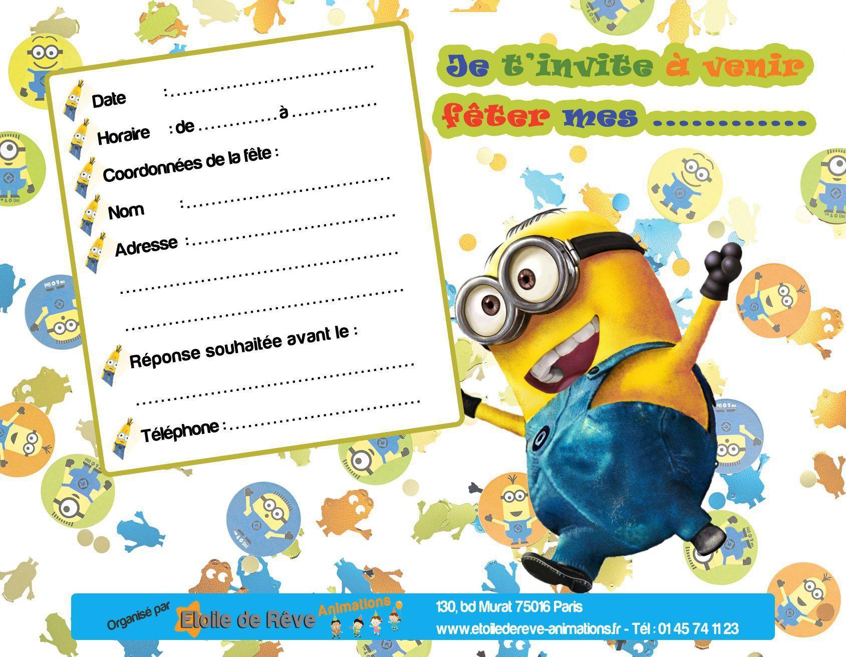 carte invitation anniversaire gratuite