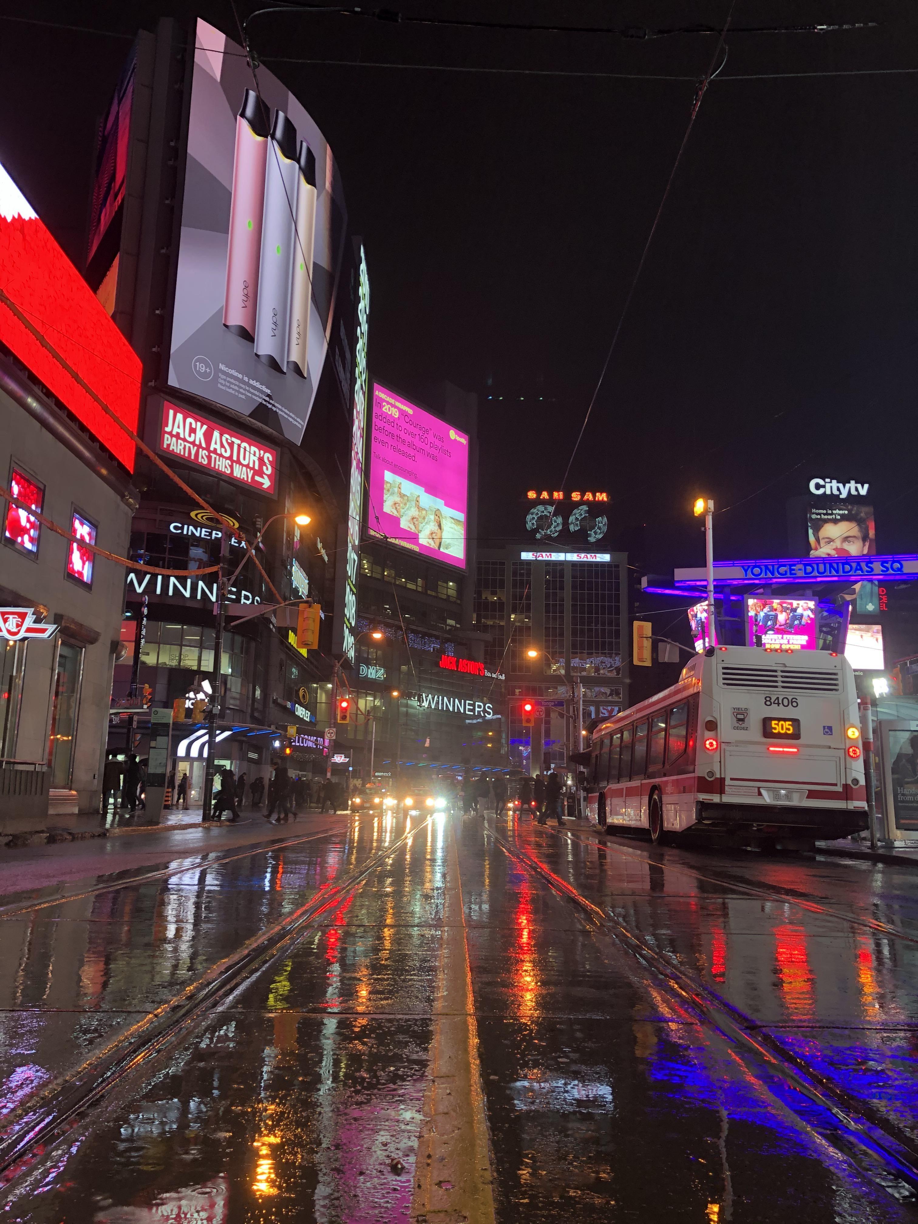 Downtown Toronto on a rainy January evening