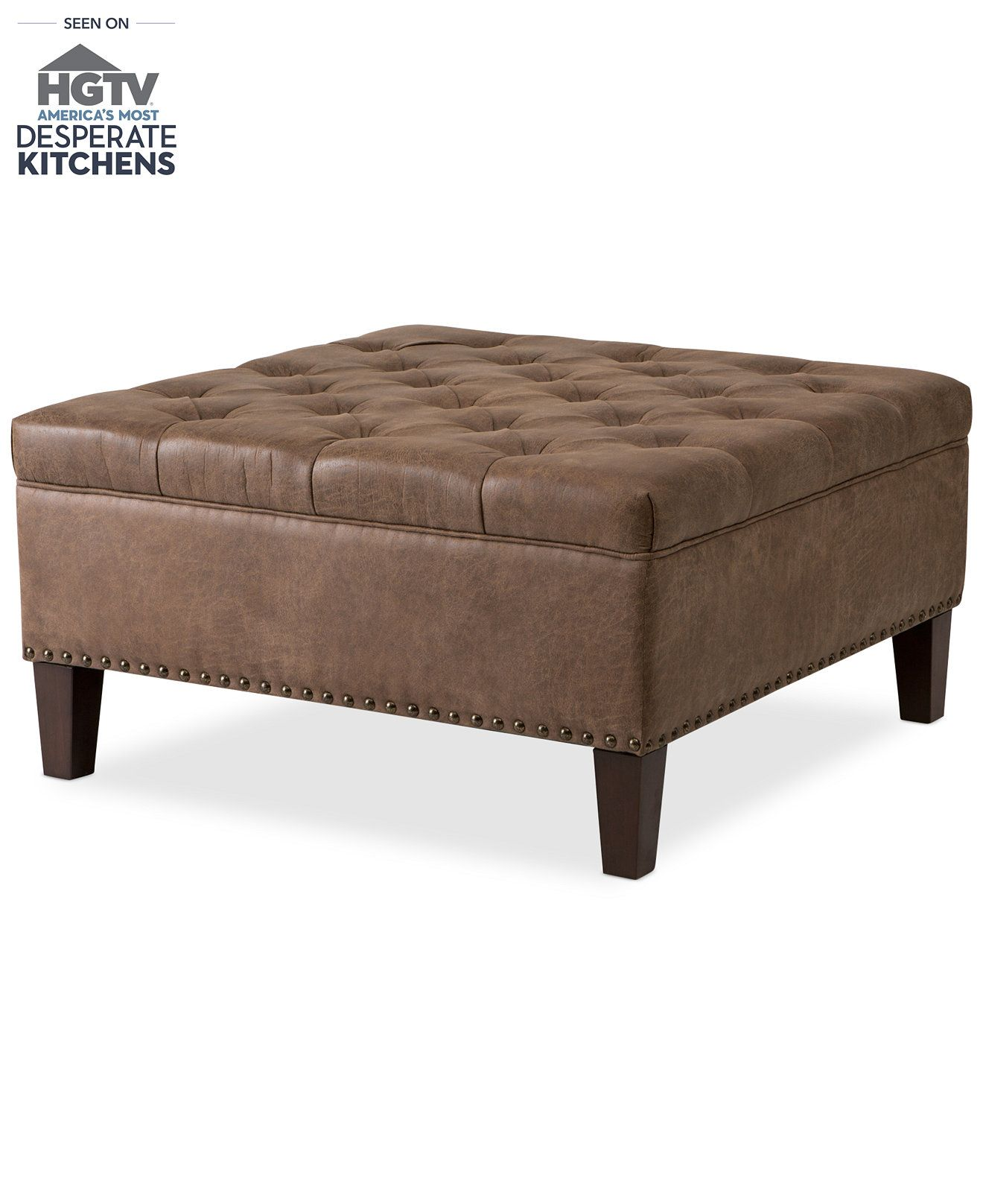 gino faux leather cocktail ottoman quick ship