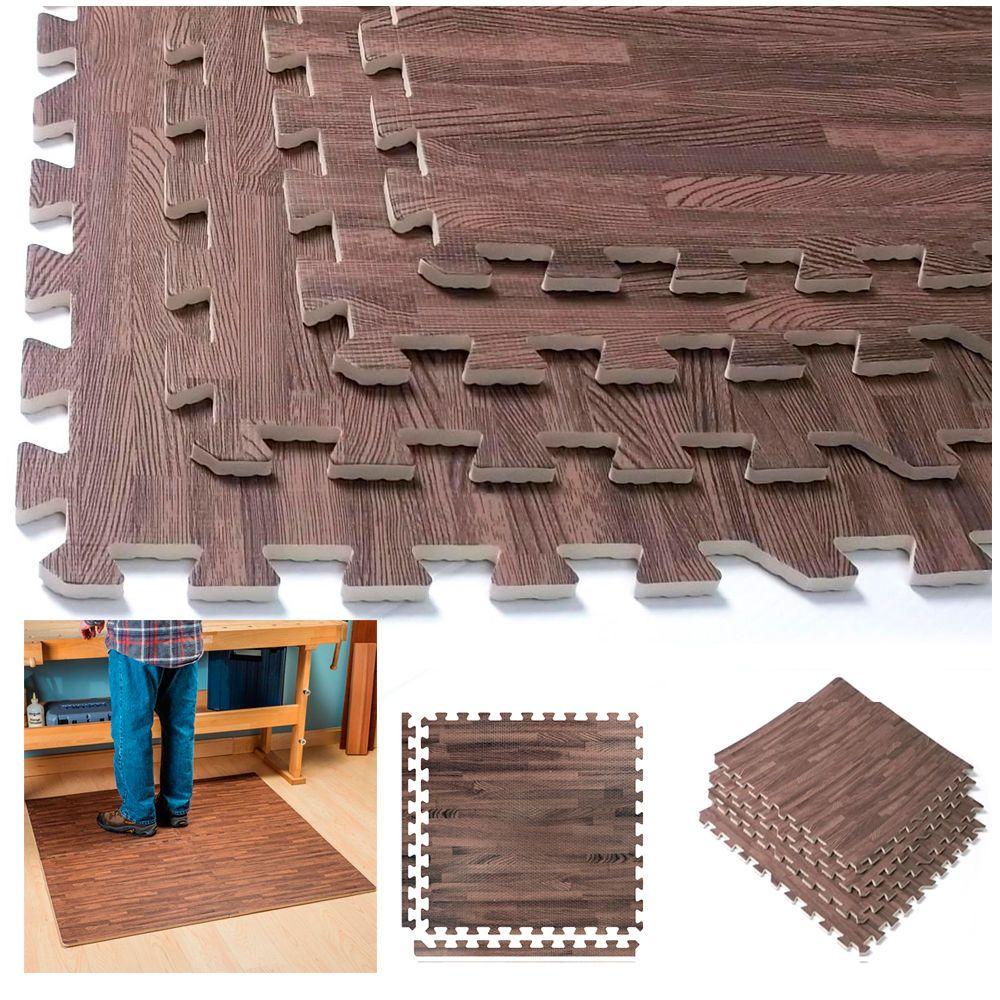Details About Interlocking Dark Wood Eva Mats Soft Foam