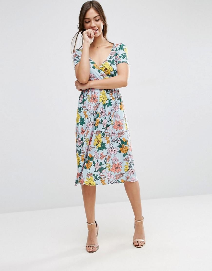 f74d1dadd964c ASOS | ASOS Midi Dress with Pleats in Floral Print at ASOS | Fashion ...