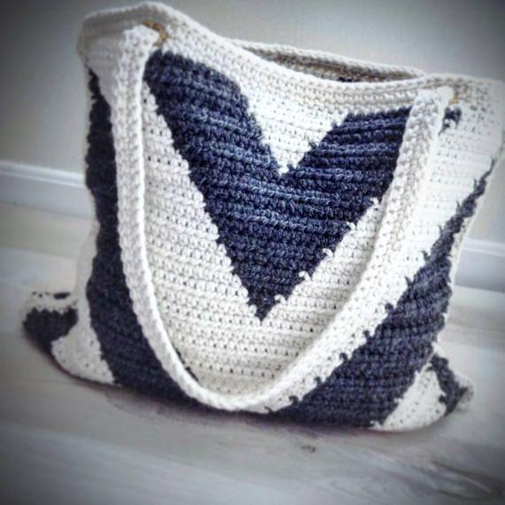 Crochet Pattern, Crochet Chevron Bag Pattern, Crochet Bag Pattern ...