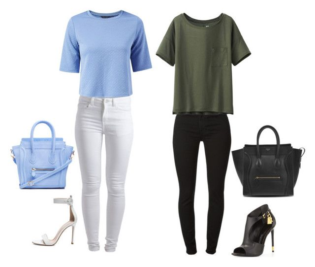 """""""~"""" by caressaharris ❤ liked on Polyvore featuring Pieces, DailyLook, Gianvito Rossi, 7 For All Mankind, Uniqlo, Tom Ford and CÉLINE"""