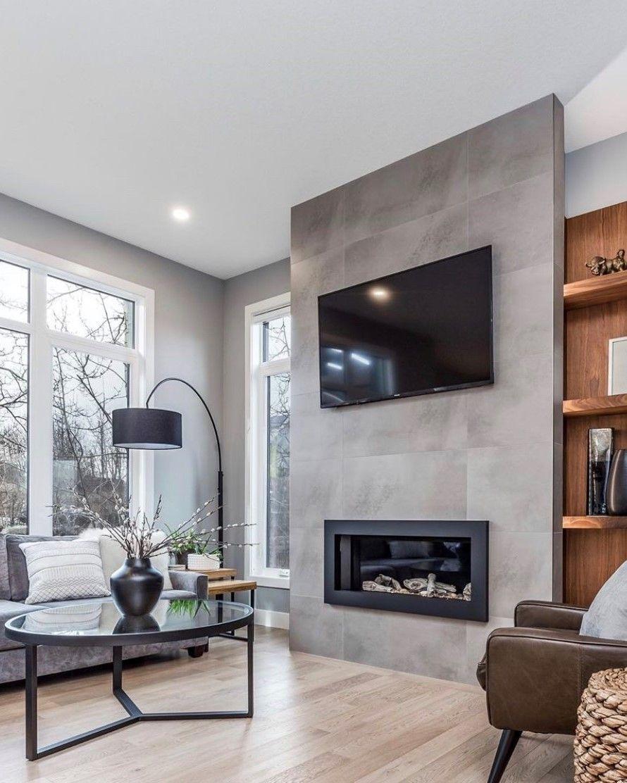 Modern Living Room Ideas Grey Tv Fireplace Wall Tile Fireplace Wall Overhang Lamp Living Home Living Room Living Room Remodel Living Room With Fireplace