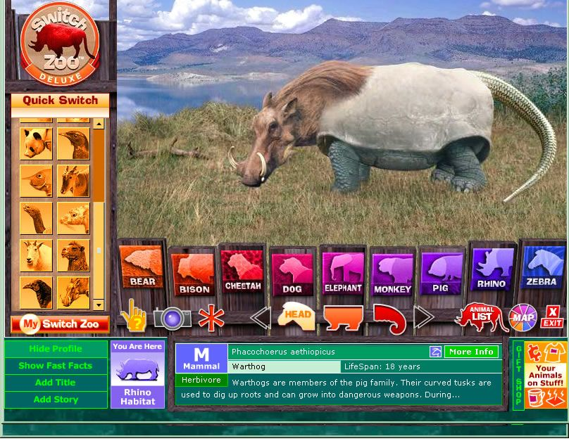 Switch Zoo a virtual zoo, a game where users can create