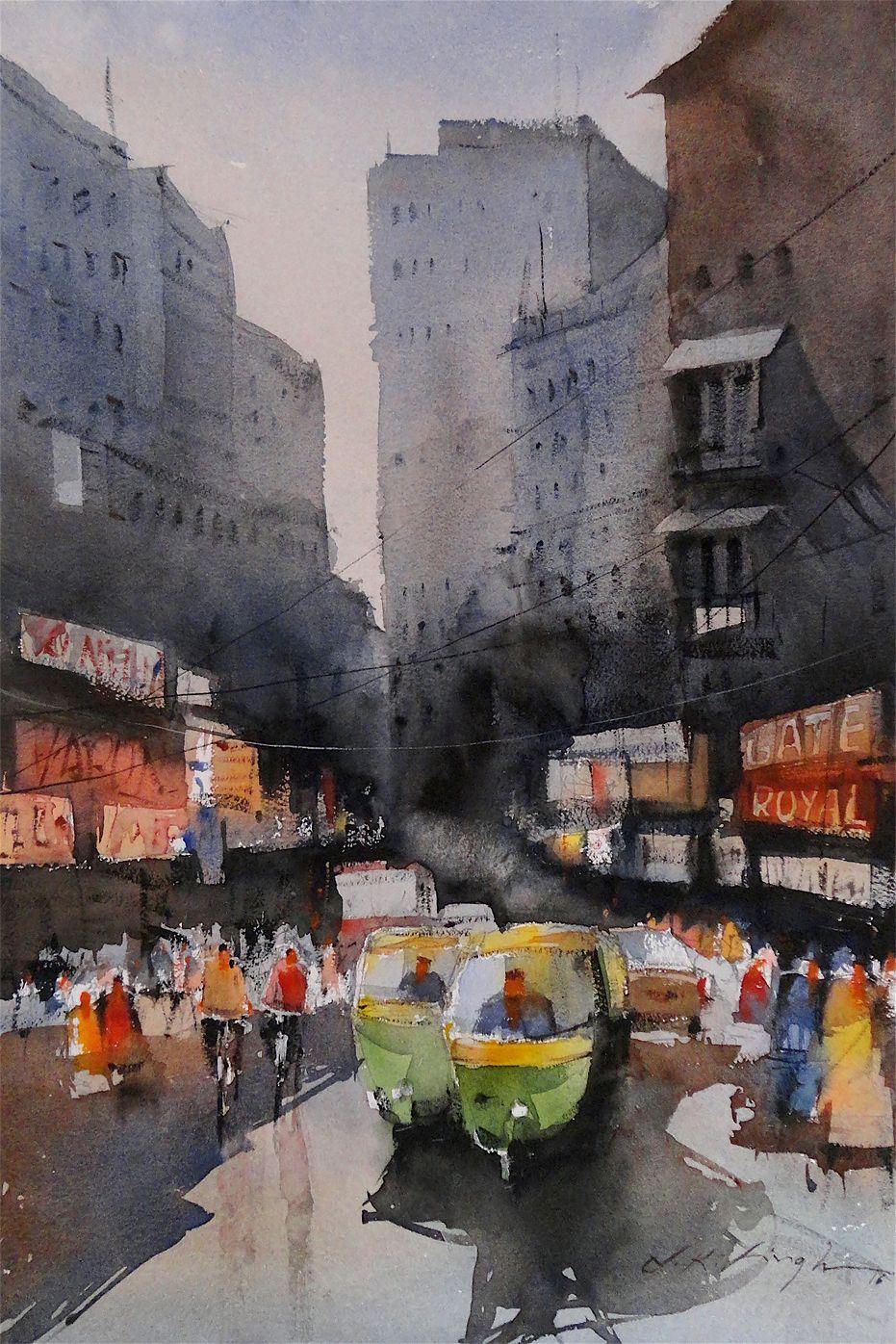 Indian Cityscape Watercolor Watercolor Landscape Realistic Art