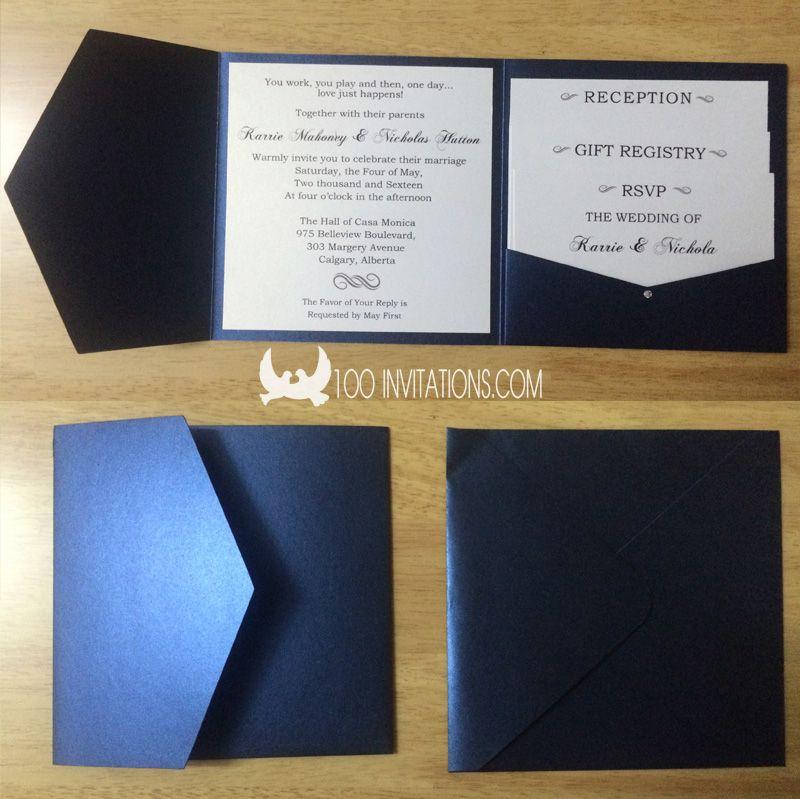 Navy Blue Square Pocketfold Wedding Invitations   Lovely Little ...