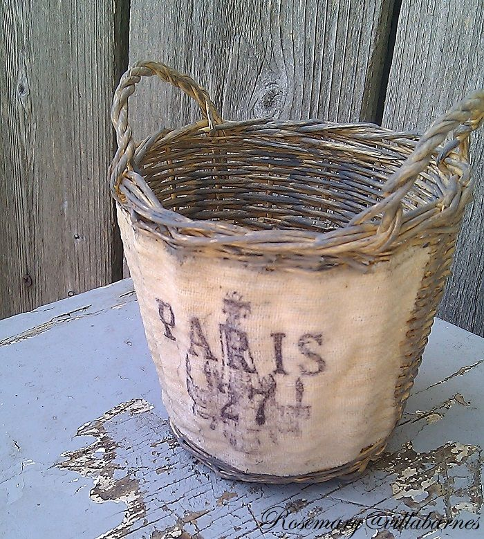 Shabby & Distressed Painted Basket...with french fabric label...by Villabarnes.