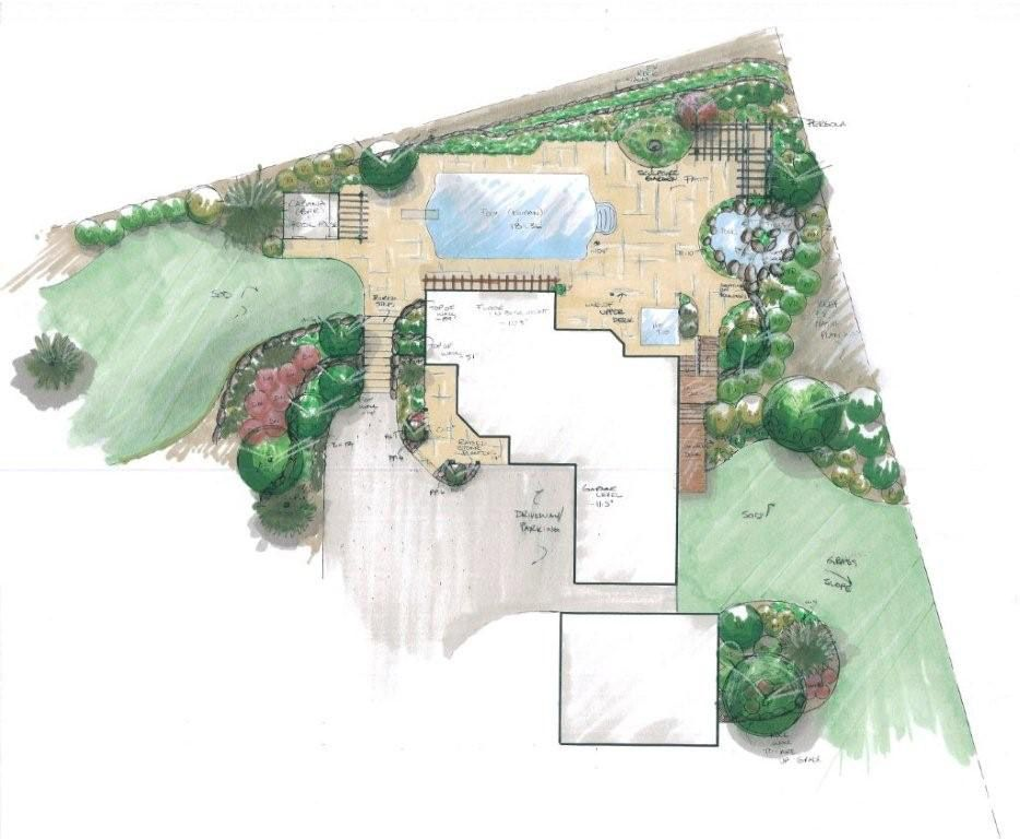 Backyard pool and patio with lawn and flower bed planting for Pool design drawings