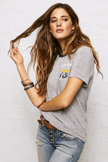 AEO Don't Ask Why Ringer T-Shirt, Women's, Grey