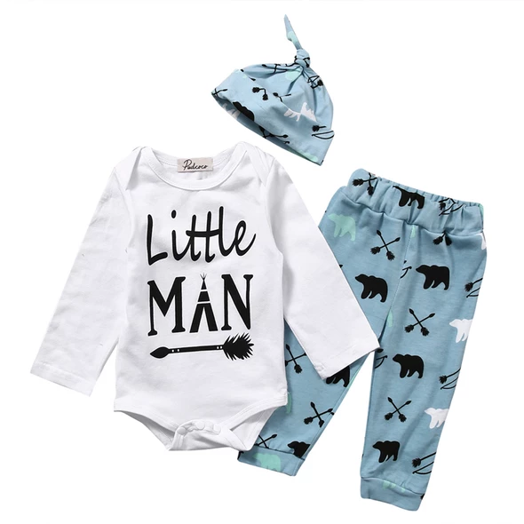 Long Pants+Hat Outfits Playsuit 3PC Newborn Baby Boy Letter Romper Shirt Tops
