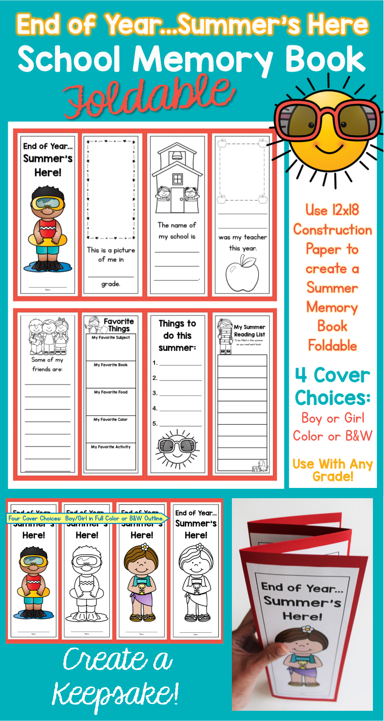 End Of Year Mmer S Here School Memory Book Foldable