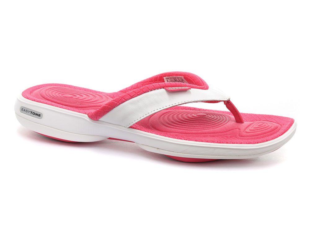 45e48a3fa9d Reebok Easytone Flip II Pink Wht Womens Fitness Toning Flip-Flops ...