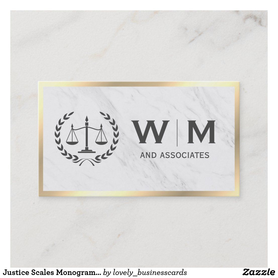 Justice scales monogram marble gold border business card