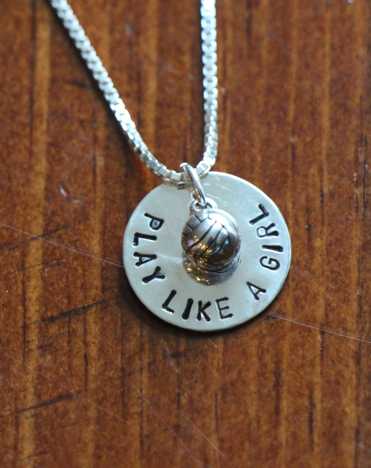 Volleyball Play Like A Girl Necklace K S Impressions Volleyball Play Like A Girl Sterling Silver Necklaces Fine Silver Jewelry