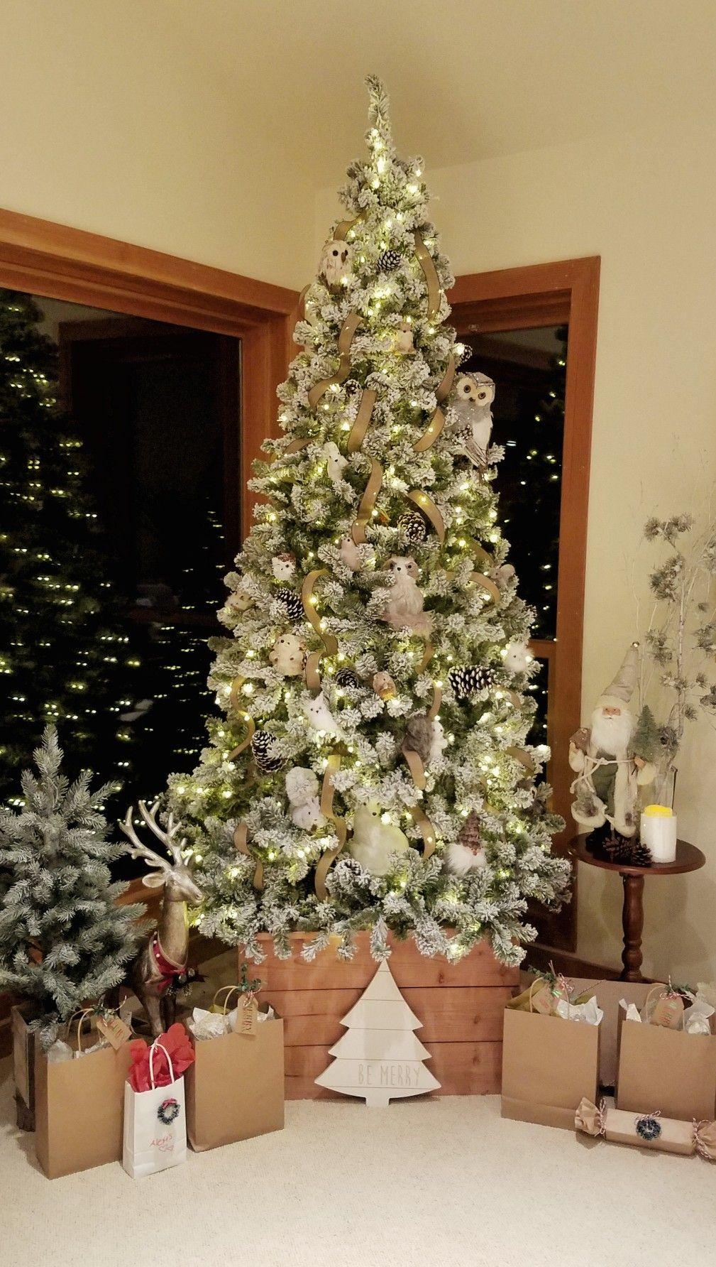 Christmas decor Woodland creatures Flocked Christmas tree
