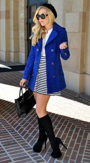 6d133244634 royal blue pea coat over black & white stripes w/ black boots & a black  béret.