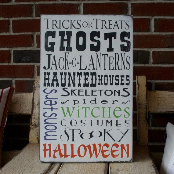 SALE Halloween Typography Word Art Sign in by barnowlprimitives