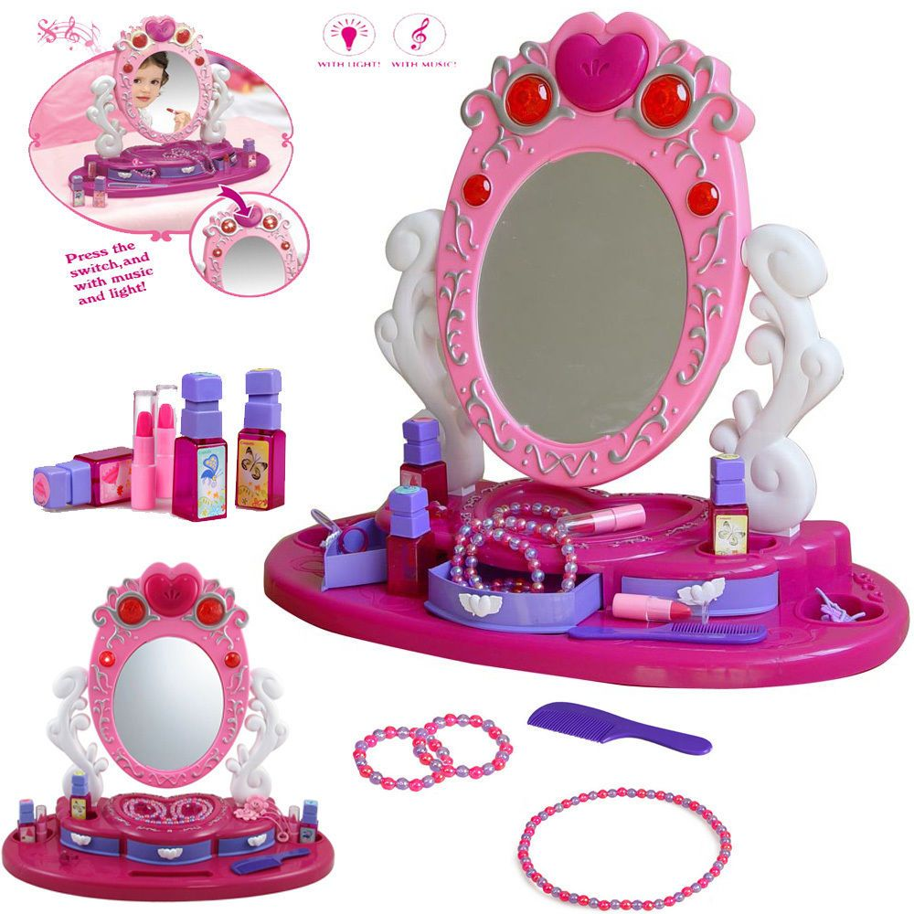 Girls Princess Glamour Mirror Dressing Table Vanity Beauty Play