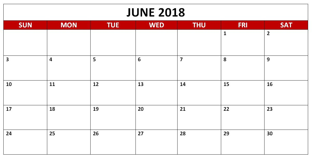 June 2018 HD Calendar. June 2018 Calendar PDF, Word, Excel Vertical ...