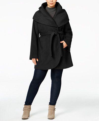 5f8716f7501 T Tahari Plus Size Marla Wrap Coat